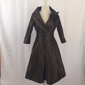 Olive Green Silk Formal Fitted Dress by Teri Jon
